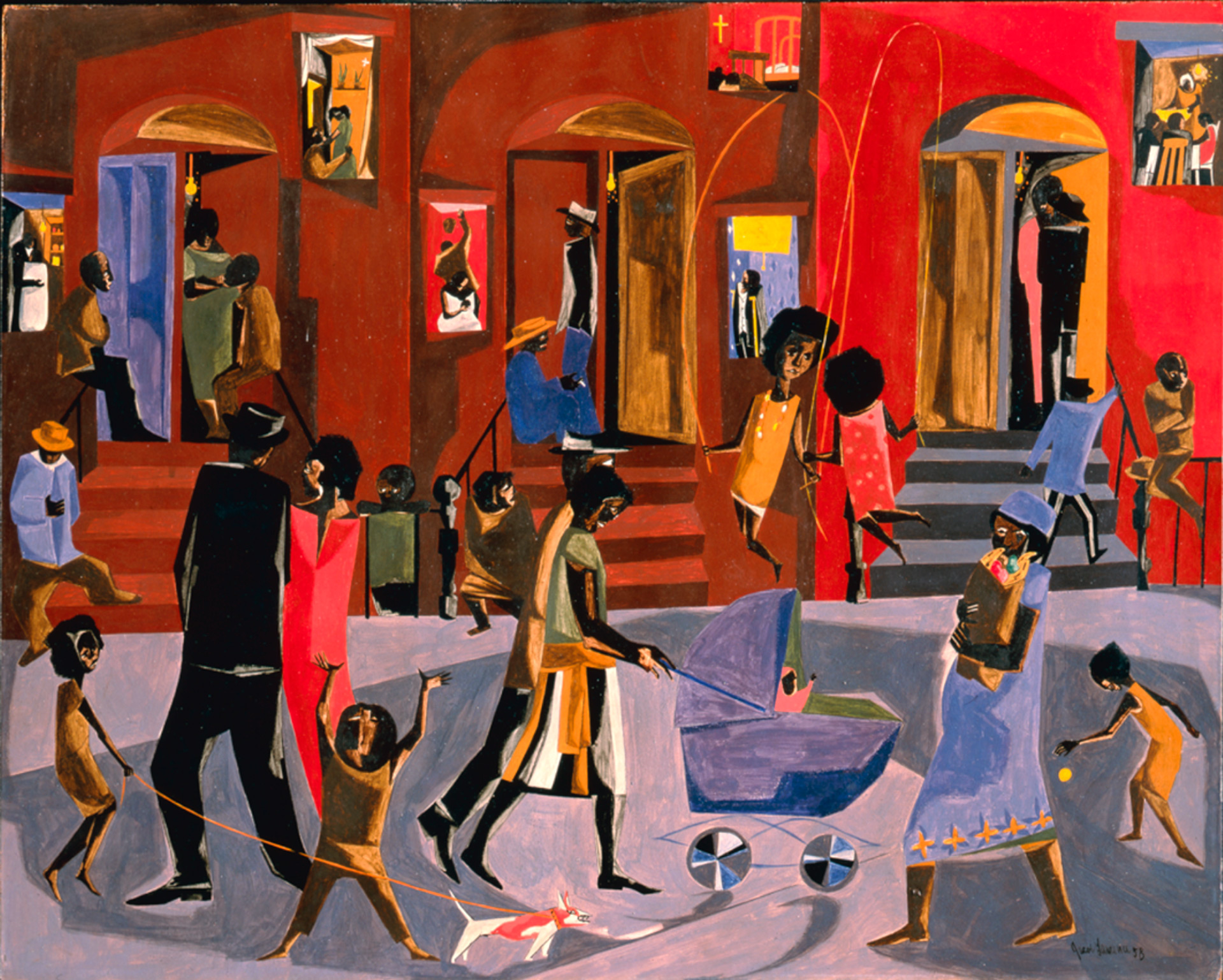 a painting analysis of the library by jacob lawrence Style jacob lawrence is considered to have an expressive, cubist style of art  whether it be by a series of paintings or just by the style of the painting.