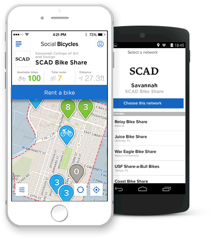 Mobile devices showing the Bike Share app