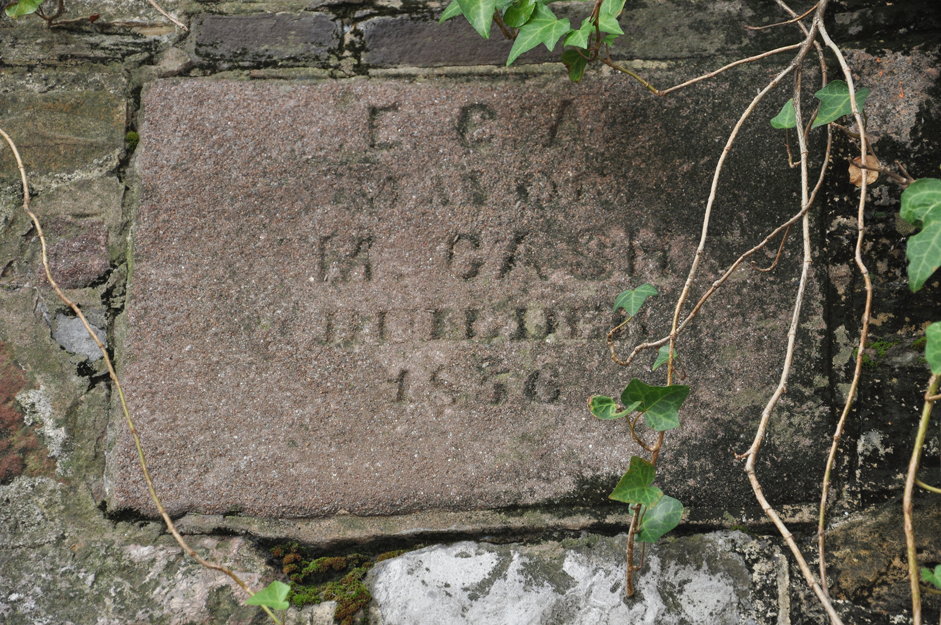 Irish stone mason Michael Cash plaque with cobblestones, Savannah, Georgia
