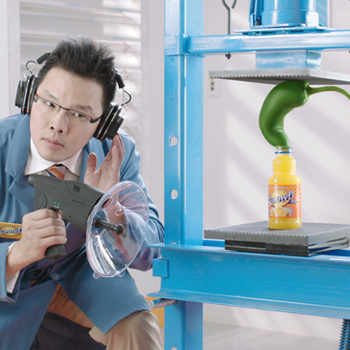 Mike Goubeaux (B.F.A., video/film, 2006) created two advertising spots for Sunny D's wacky flavor lab campaign.