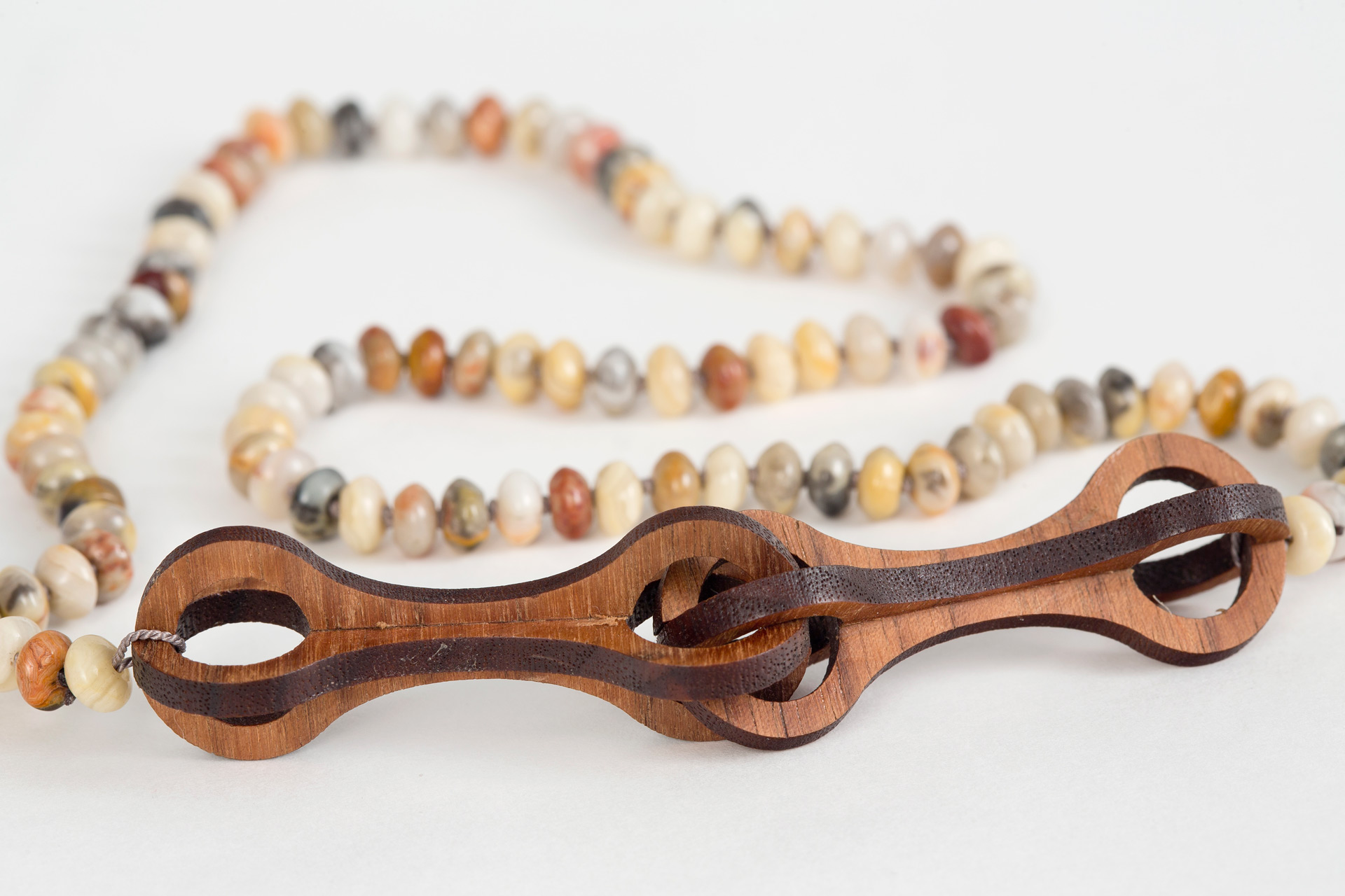 Double Walnut Bone Link & Opal Necklace