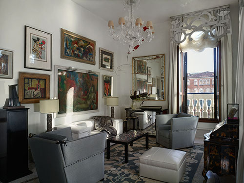 Living Room of the Guggenheim Suite after the restoration of the Gritti Palace in Venice, Italy