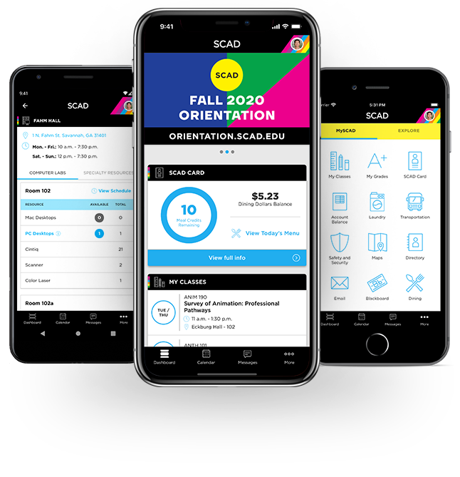 SCAD app for android and iphone