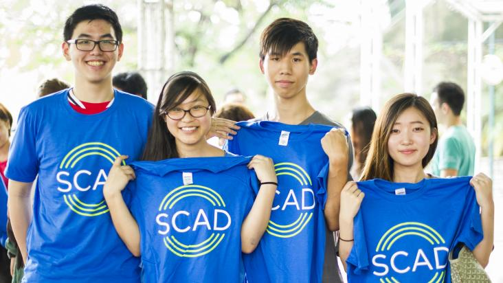 SCAD Hong Kong students with blue T-shirts