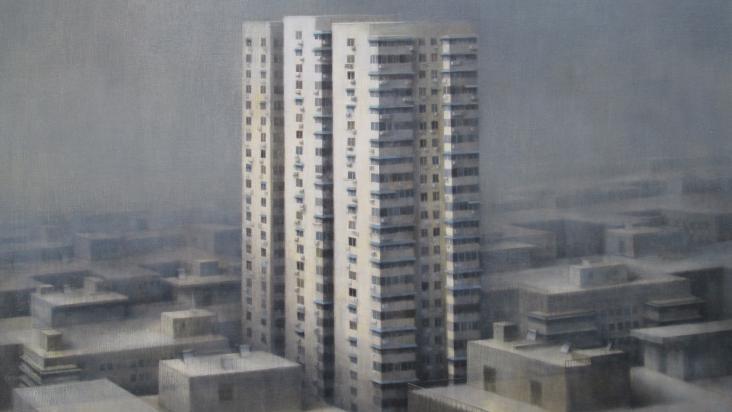 "Maggie Evans, Status, oil on canvas, 35"" x 60"", 2014."