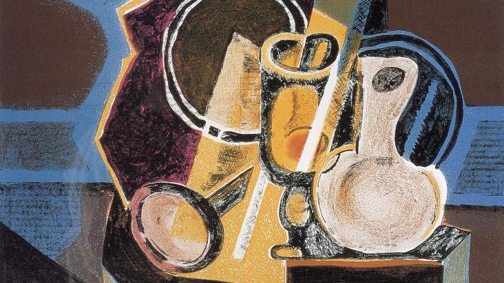 """Robert Blackburn, """"The Mirror,"""" monoprint, 20"""" x 24"""", 1940."""