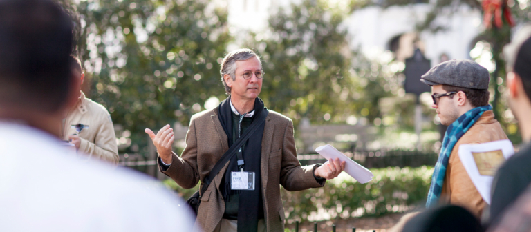 Architectural History professor leading walking tour of downtown Savannah