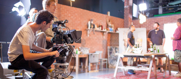 SCAD student filmmakers shooting on set