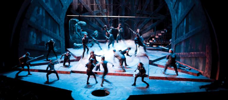 SCAD students performing on Macbeth set
