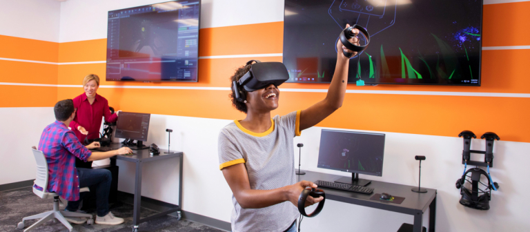 Students test out the latest VR experiences in the user experience design testing lab