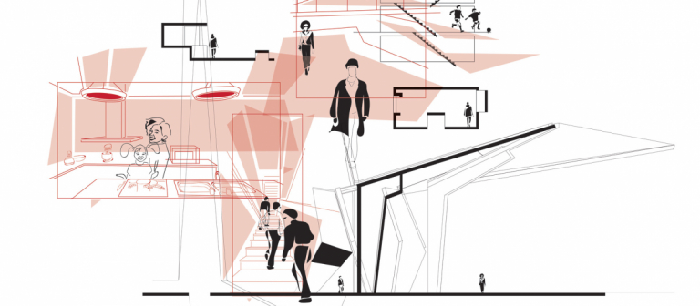 Digital illustration showing several floors of a building and populated by different people