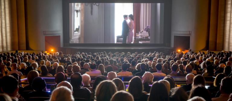 Filmgoers attending screening in Trustees Theater
