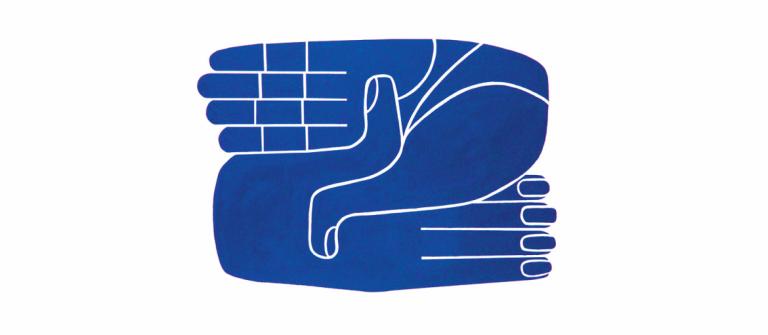 Blue hands design by Carla Fernandez and Pedro Reyes