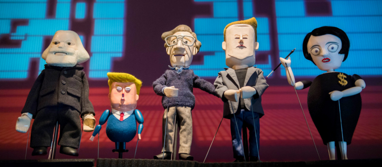 Satirical puppets created by Pedro Reyes for define art play