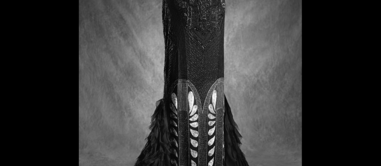 Ralph Lauren Collection, Fall 2011, black silk, embroidered art deco evening dress (Chrysler bldg).
