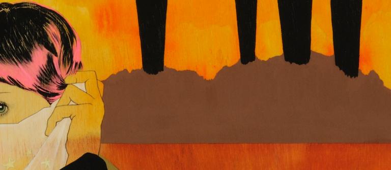 "Ann-Marie Manker, ""Swan Song,"" acrylic, pencil, ink on braced wood panel, 32"" x 48"", 2010."