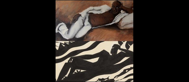 "Lynette Yiadom-Boakye, ""Pas a Cote de N'importe Ou,"" 2010. Aaron Douglas, ""The Negro Speaks of Rivers (For Langston Hughes),"" 1941."