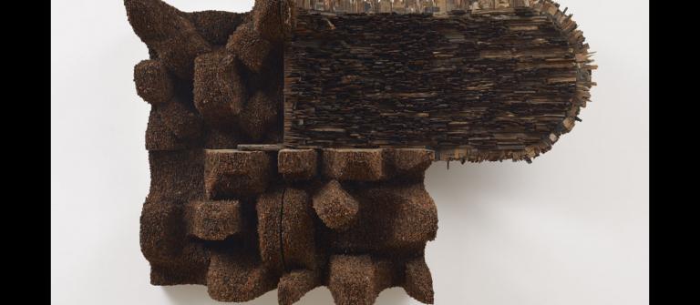 "Leonardo Drew, ""Number 153,"" wood, paint, paper and metal, 2012."