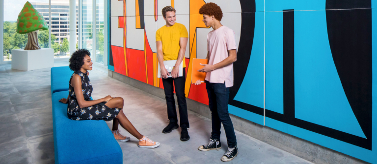 SCAD students chatting in common space of FORTY residence hall