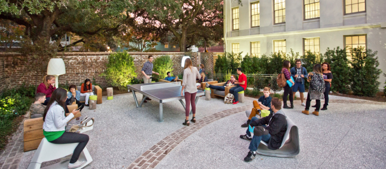 International students in Norris Hall courtyard