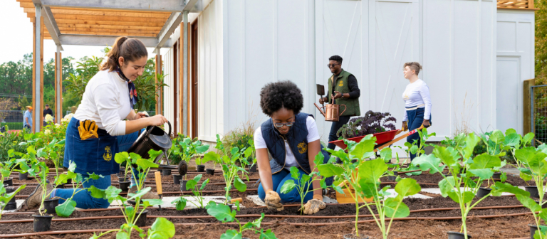 Students planting garden at SCAD Back40