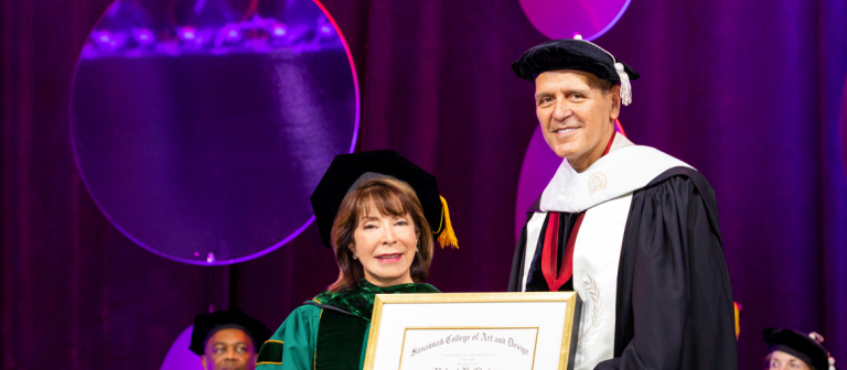 President Paula Wallace with Hermès U.S. CEO at SCAD 2019 commencement