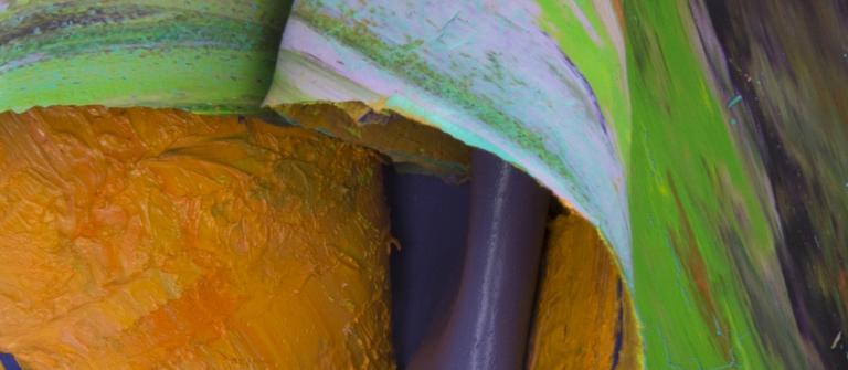 """Leslie Wayne, """"Paint/Rag #32"""", oil on panel, 15"""" x 9.5"""" x 6"""", 2013."""