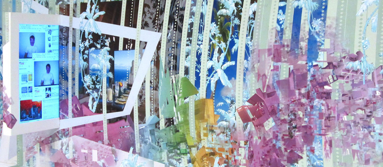 """Ryan Brennan, """"How Would You Know, I Wouldn't"""" (detail), digital print mural with mixed media, 2013."""