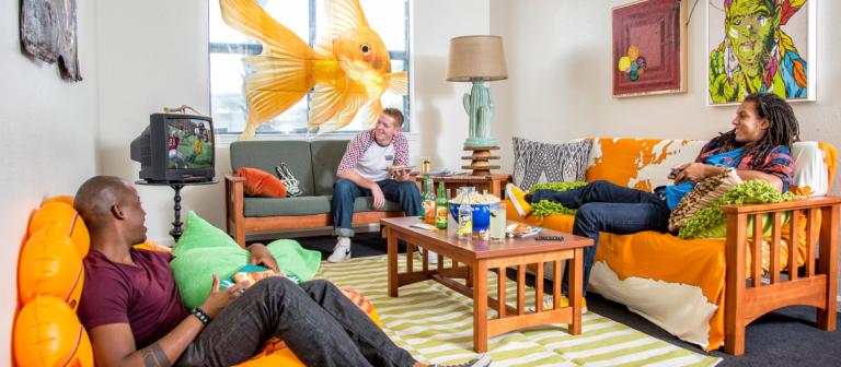 Student room at SCAD Savannah residence hall Barnard Village