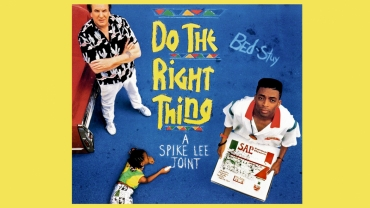 """Poster for """"Do the Right Thing"""" screening at Trustees Theater"""