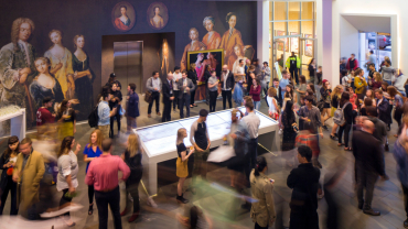 Reception crowd in lobby of SCAD Museum of Art