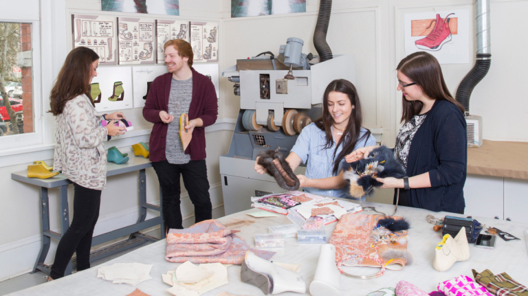 Accessory design students in the classroom