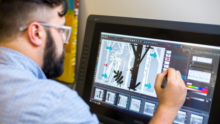 Animation student works in a SCAD digital lab