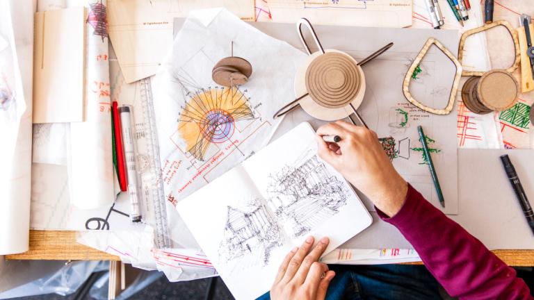 Architecture student Elaine Gallagher Adams' work space