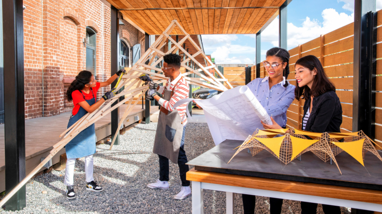 Students fabricate large-scale projects at Clark Hall's outdoor building spaces