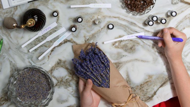Bundle of lavender, fragrance labels, and glass bottles
