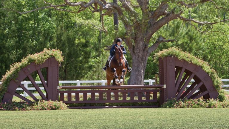 Equestrian student Kels Bonham competing in hunter trials