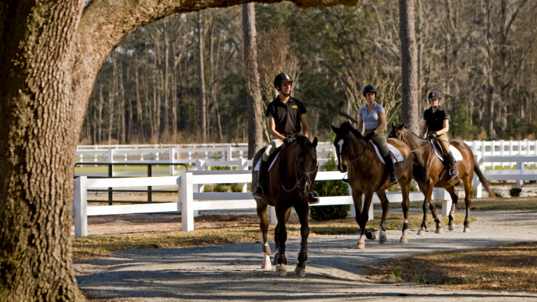 Equestrian studies students trail riding at Ronald C. Waranch Equestrian Center
