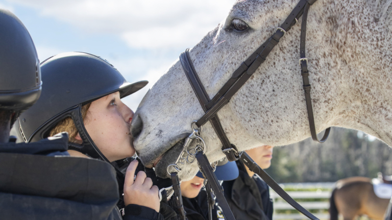 Equestrian studies student with horse