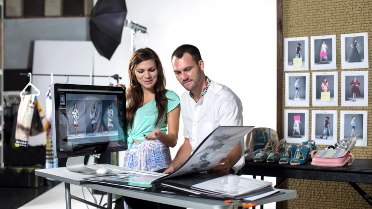 Fashion marketing and management students shooting in photography studio