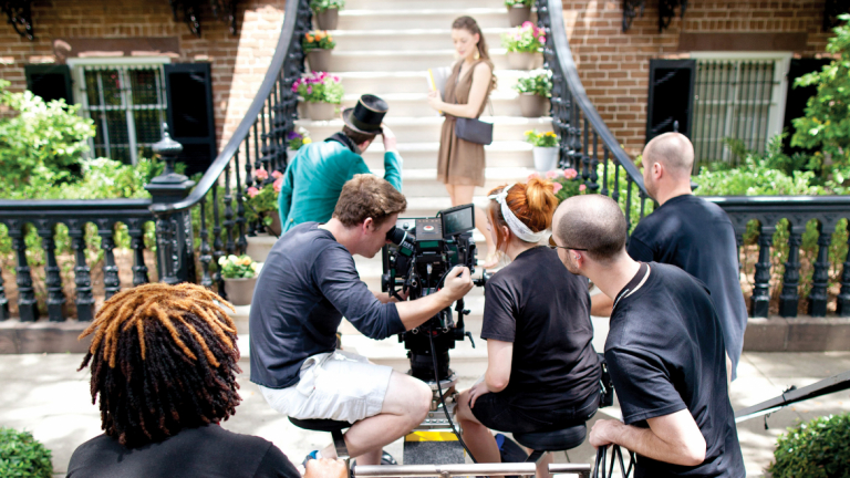 SCAD students shooting scene from film