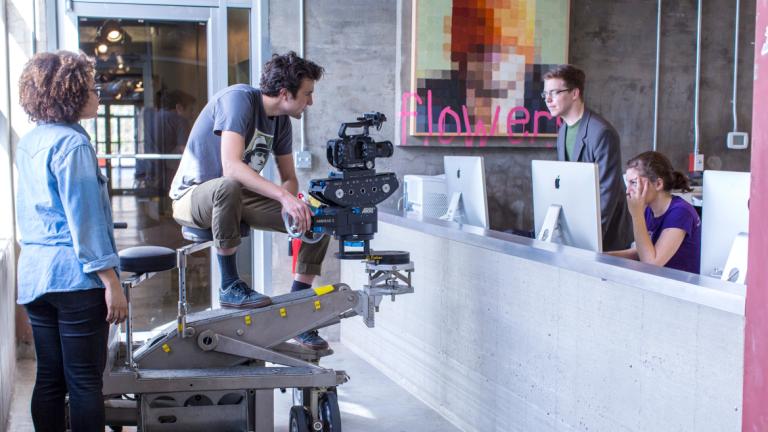 Film and television students operating camera at Savannah Film Studios