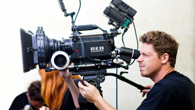Film and television student using HD Red One digital camera