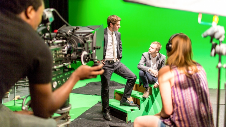 Film and television students using green screen at Savannah Film Studios