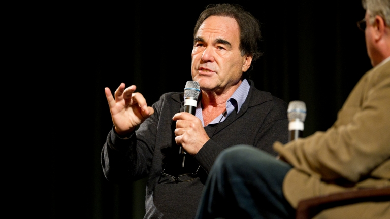Filmmaker Oliver Stone answering questions at the Savannah Film Festival