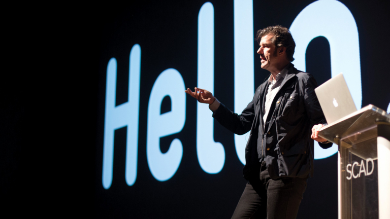 SCADstyle guest Stefan Sagmeister delivering lecture on graphic design