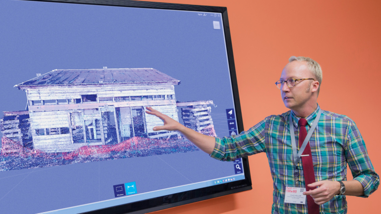 SCAD preservation design professor giving lecture on digital tools