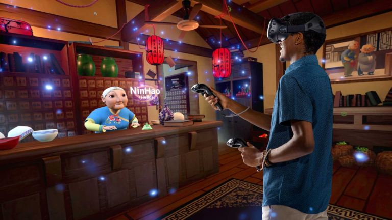 Interactive design and game development students contributed to a virtual reality tool that teaches Mandarin in a 3D setting