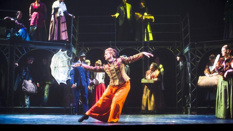 Performing arts student dancing onstage in La Traversée