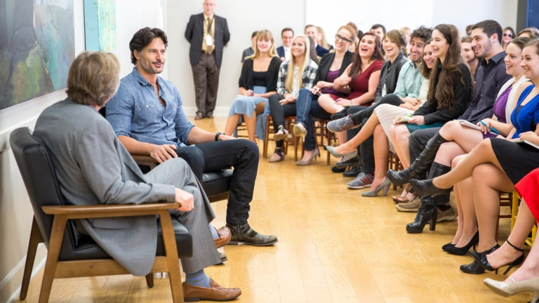 Actor Joe Manganiello teaching performing arts students during Savannah Film Festival
